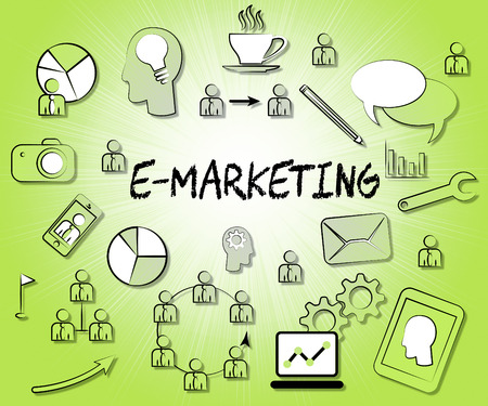 emarketing: Emarketing Icons Representing Internet Promotions And Selling Stock Photo