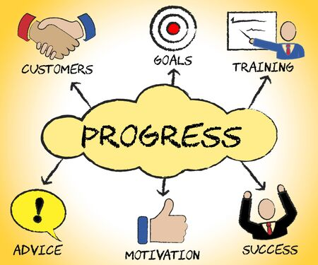 advancement: Progress Symbols Showing Betterment Headway And Advancement Stock Photo