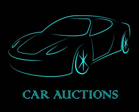 bidding: Car Auctions Meaning Bidding On Motor Vehicles Stock Photo