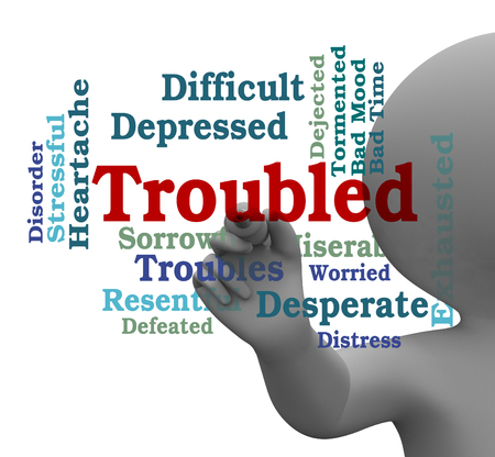 problematic: Troubled Word Representing Difficult Problem 3d Rendering Stock Photo