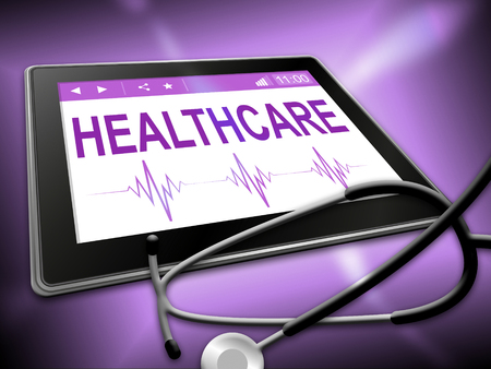 indicating: Healthcare Tablet Indicating Healthy Wellbeing 3d Illustration