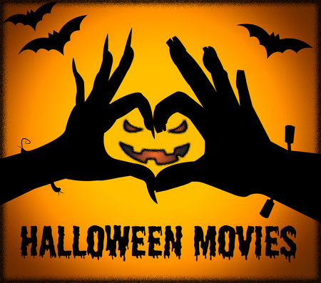 horror movies: Halloween Movies Showing Horror Films And Cinema Stock Photo