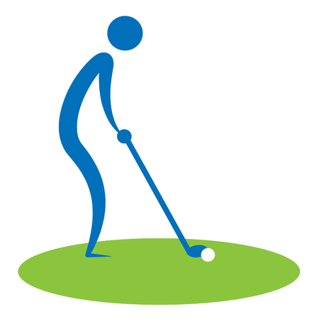 golfcourse: Man Teeing Off Showing Golf Courses And Golfing Stock Photo