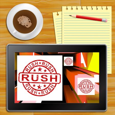 immediately: Rush Tablet Shows Express Delivery 3d Illustration