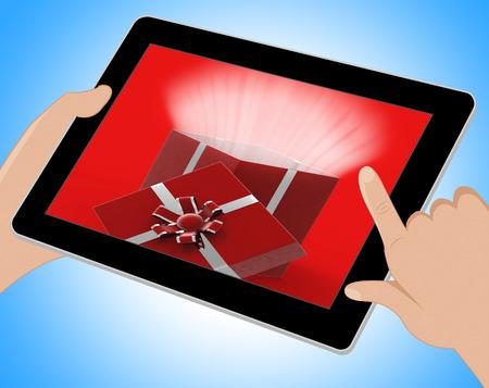 ilustration: Surprise Giftbox Indicating Online Gift Celebration 3d Ilustration