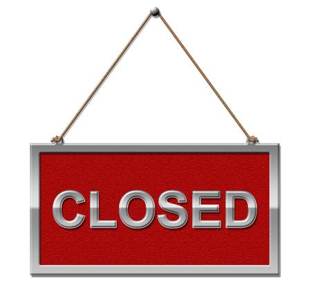 liquidate: Closed Sign Showing Shut Down And Liquidated