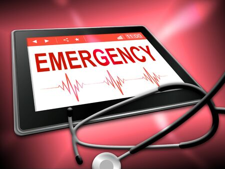 urgency: Emergency Tablet Indicating First Aid 3d Illustration