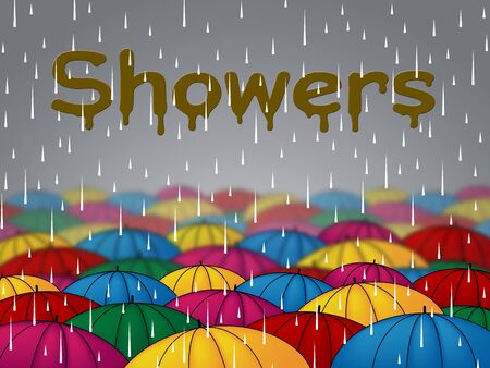 downpour: Rain Showers Meaning Wet Downpour And Rainfall Stock Photo