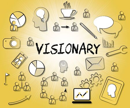 strategist: Visionary Icons Representing Insights Strategist And Ideals Stock Photo