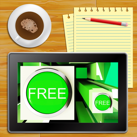 freebie: Free Buttons On Tablet Shows Freebie 3d Illustration Stock Photo