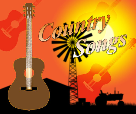 w c: Country Songs Showing Folk Music And Singing