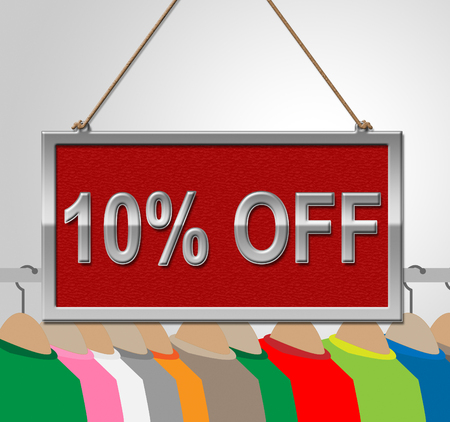 10: Ten Percent Off Representing 10% Clearance And Offers Stock Photo