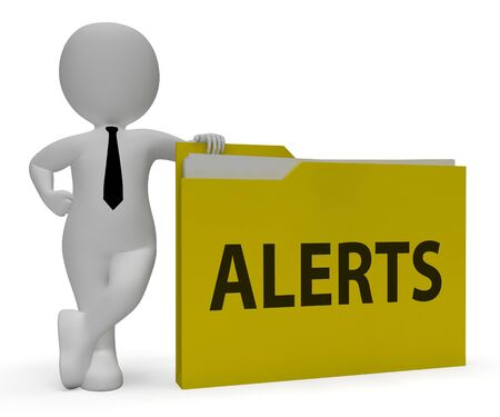 reminders: Alerts Folder 3d Rendering Holding Schedule Reminders