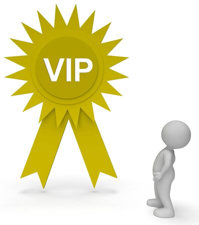 Vip Rosette Representing Very Important Person 3d Rendering