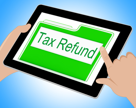 refunds: Tax Refund Showing Refunding Paid Taxes Online 3d Illustration Stock Photo
