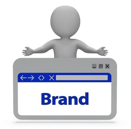 brand identity: Brand Label Indicating Company Identity 3d Rendering