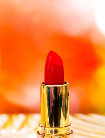 lip stick: Red Lipstick Makeup Indicating Beauty Products And Make-Up