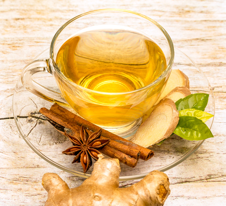 Spiced Ginger Tea Meaning Star Anise And Fresh Stock Photo