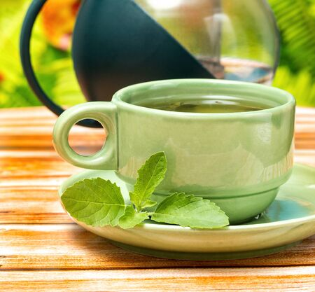 refreshes: Tea With Mint Showing Refreshed Fresh And Beverage Stock Photo