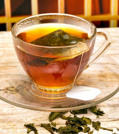 tea breaks: Brewed Green Tea Indicating Refreshed Refresh And Brews