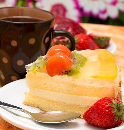 gateau: Moist Strawberry Cake Showing Fresh Cream Gateau And Fresh Cream Gateau Stock Photo