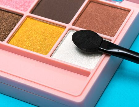 Eyeshadow Makeup Brush Showing Beauty Products And Cosmetics