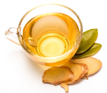ginger tea: Healthy Ginger Tea Representing Refresh Teacups And Drinks Stock Photo