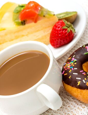 fatty food: Coffee And Donut Showing Fatty Food And Fattening