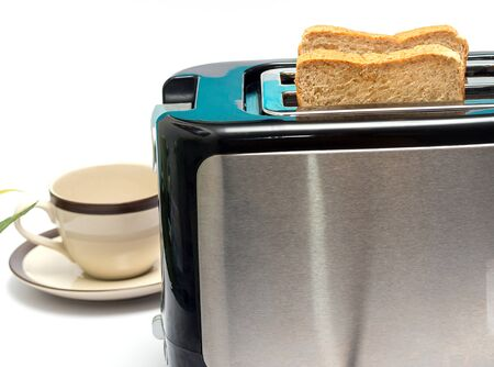 toaster: Bread Toaster Indicating Morning Meal And Breakfast