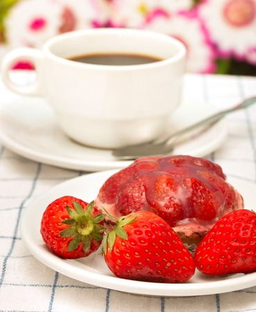 decaf: Desert And Coffee Representing Strawberry Tart Pie And Fruit Pie Stock Photo