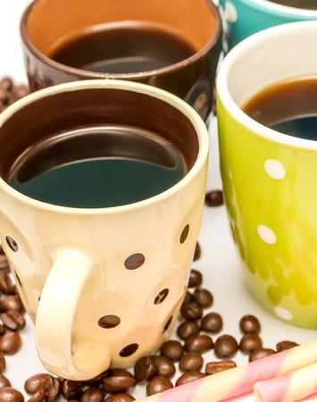 decaf: Coffee Beans Cafe Showing Cup Delicious And Drink Stock Photo