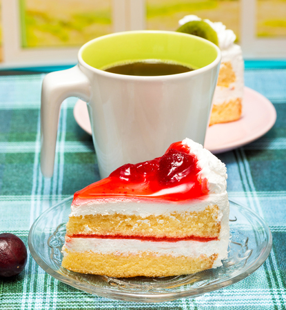 gateau: Coffee And Cake Indicating Cafeteria Delicious And Snacks Stock Photo