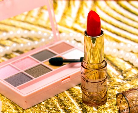 makeups: Makeup Red Lipstick Showing Beauty Products And Lipsticks Stock Photo