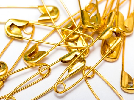 Safety Pins Showing Needle Work And Sewing Stock Photo