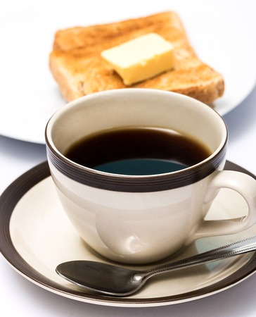 coffee breaks: Coffee And Toast Indicating Toasted Bread And Breaks Stock Photo
