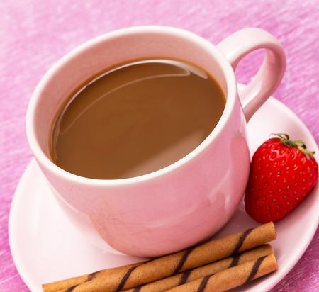 Mug of freshly brewed coffee and chocolate cookie sticks Stock Photo