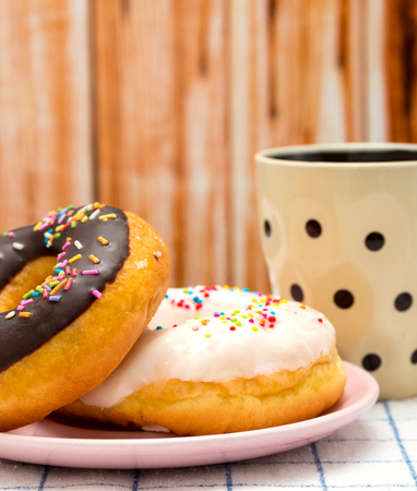 fatty food: Coffee And Donuts Representing Fatty Food And Decaf