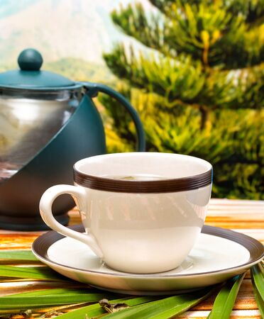 refreshes: Green Tea Break Showing Refreshment Drink And Restaurants Stock Photo