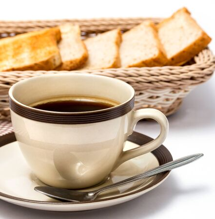 meal time: Coffee And Bread Indicating Meal Time And Black