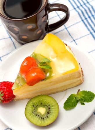 gateau: Coffee And Gateau Showing Break Tasty And Bakery Stock Photo