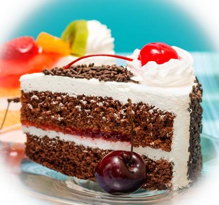 Black Forest Gateau Representing Chocolate Cake And Cream