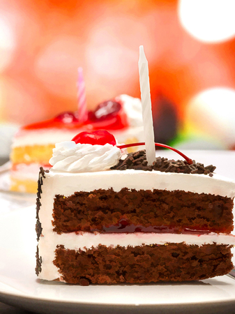 gateau: Black Forest Gateau Shows Chocolate Cake And Chocolates Stock Photo