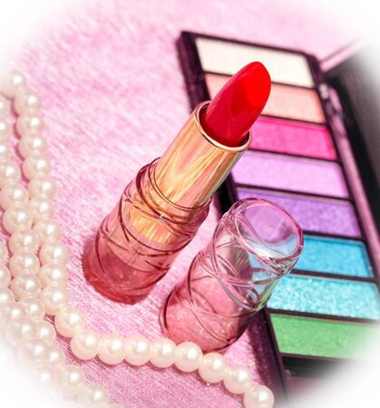 makeups: Red Lipstick Showing Beauty Products And Make-Up