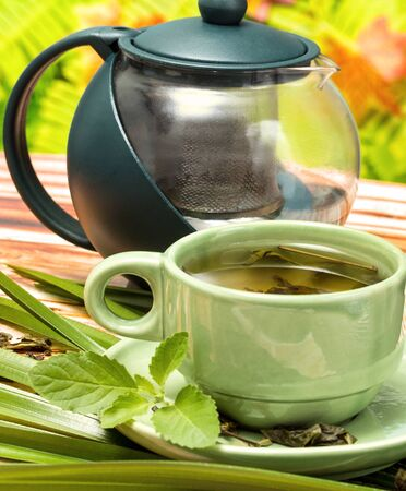 refreshment: Mint Green Tea Showing Refreshment Beverages And Refresh Stock Photo