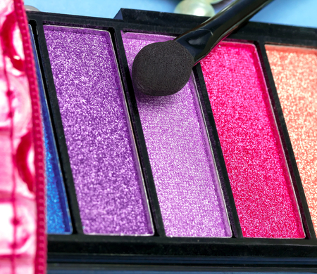 makeups: Eye Shadow Makeup Representing Beauty Product And Applicators Stock Photo