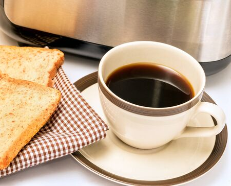 coffee breaks: Coffee And Toast Showing Morning Meal And Toasted