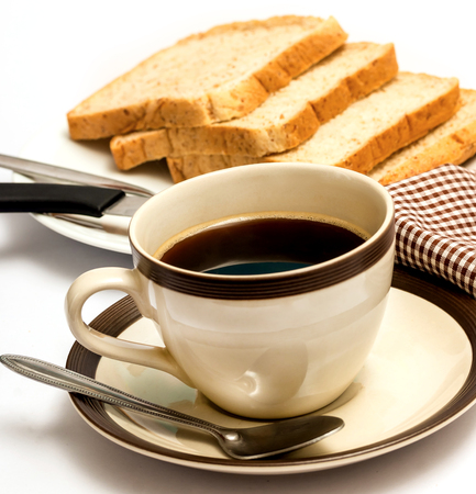 meal time: Bread And Coffee Representing Meal Time And Cafeterias