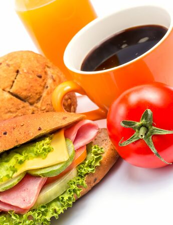 food stuff: Coffee And Roll Showing Food Stuff And Delicious Stock Photo