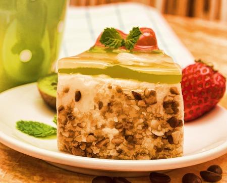 gateau: Tasty Strawberry Cake Meaning Fresh Cream Gateau And Delicious Cakes Stock Photo