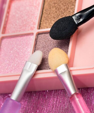 beauty product: Eye Shadow Brushes Representing Beauty Product And Makeup Stock Photo